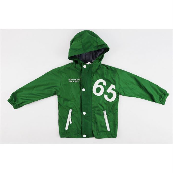 Zielona kurtka z kapturem i naszywką 65