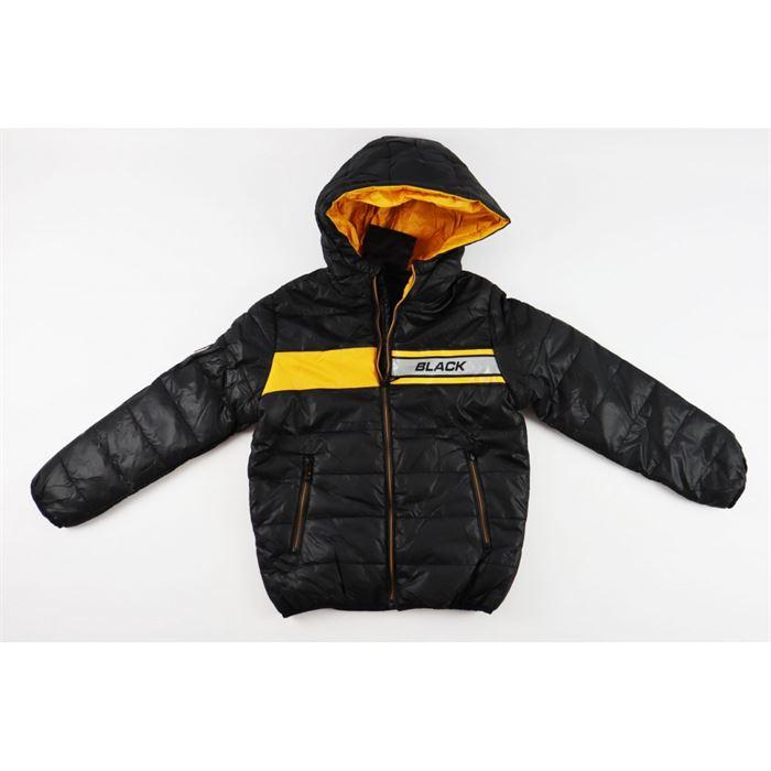 Czarna kurtka z kapturem dla chłopca pikowana z musztardowymi wstawkami