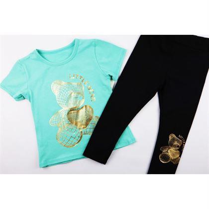 Komplet dla dziewczynki miętowy t-shirt i legginsy z misiem