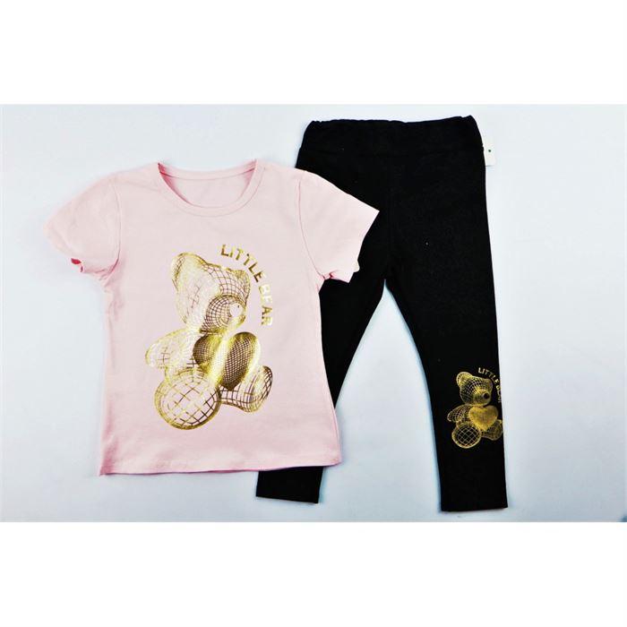 Komplet dla dziewczynki różowy t-shirt i legginsy z misiem