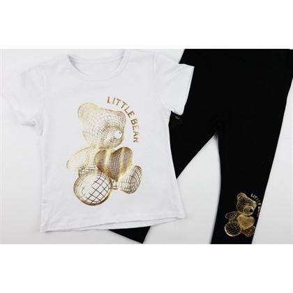 Komplet dla dziewczynki biały t-shirt i legginsy z misiem