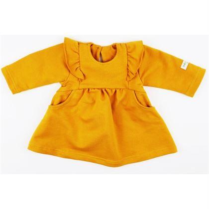 Musztardowa sukieneczka rozkloszowana ze skrzydełkami