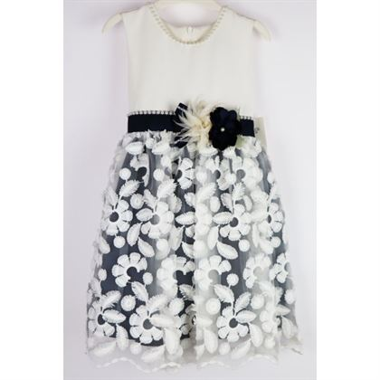 Elegancka sukienka ecru z granatowymi wstawkami
