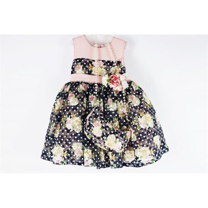 Granatowo- różowa sukienka elegancka w bajeczne róże angielskie