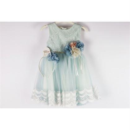 Miętowa elegancka tiulowa sukieneczka dla dziewczynki