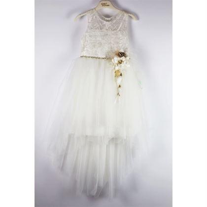 Biała sukienka elegancka z przedłużonym tyłem i kwiatami