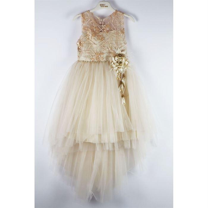 Beżowa sukienka elegancka z przedłużonym tyłem i kwiatami