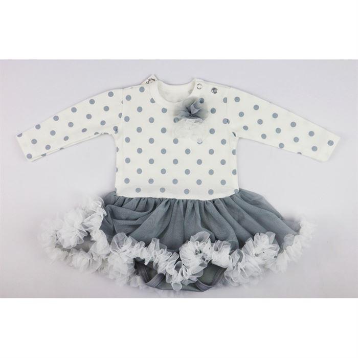 Biało-szara sukieneczka w grochy z tiulowym dołem dla dziewczynki