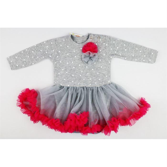 Szaro-różowa sukieneczka w grochy z tiulowym dołem dla dziewczynki