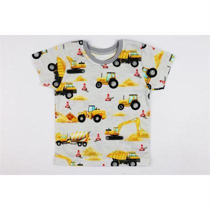 Szary t-shirt dla chłopca z żółtymi sprzętami budowlanymi