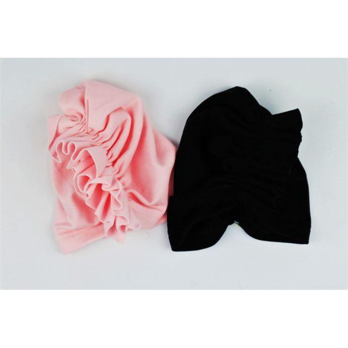 Turban czapeczka dla dziewczynki z ozdobną falbanką- 2 kolory do wyboru