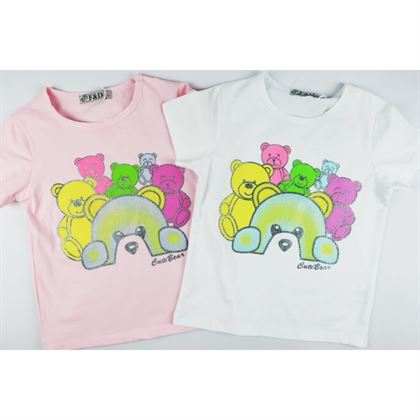 T-shirt dla dziewczynki z misiami- 2 kolory do wyboru