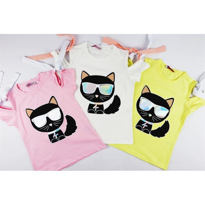 T-shirt dla dziewczynki z holograficzną grafiką kota i ozdobnymi rękawkami- 3 kolory do wyboru