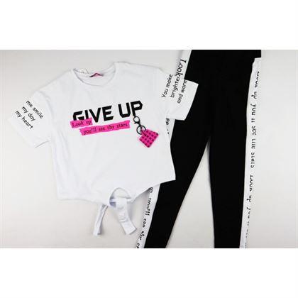 Komplet dla dziewczynki- biały t-shirt i legginsy z lampasem