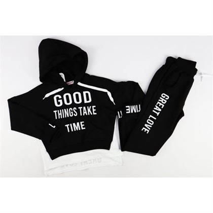 Czarny komplet dresowy dla dziewczynki- bluza i spodnie GOOD THINGS TAKE TIME