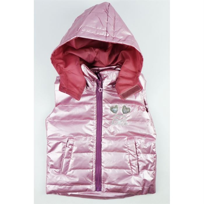 Różowa holograficzna kamizelka dla dziewczynki z kapturem