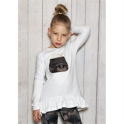 Biały longlseeve dla dziewczynki z falbankami i panterkową grafiką