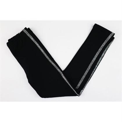 Czarne legginsy z cienkimi srebrnymi lampasami po bokach