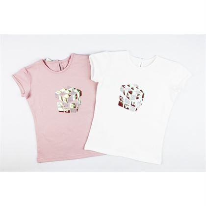 T-shirt dziewczęcy z holograficzną kostką- 2 kolory do wyboru