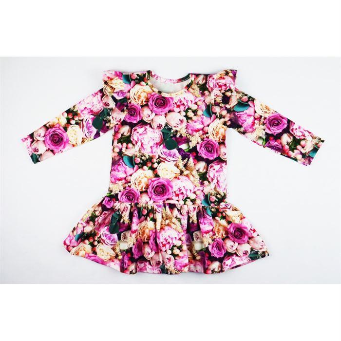 Sukienka dla dziewczynki kwiatowa piwonie ze skrzydełkami