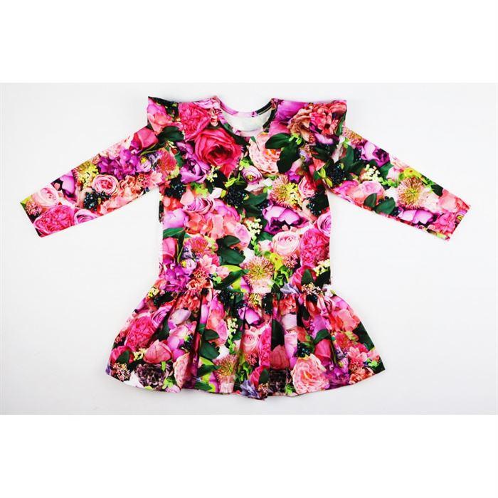 Sukienka dla dziewczynki kolorowe piękne kwiaty ze skrzydełkami
