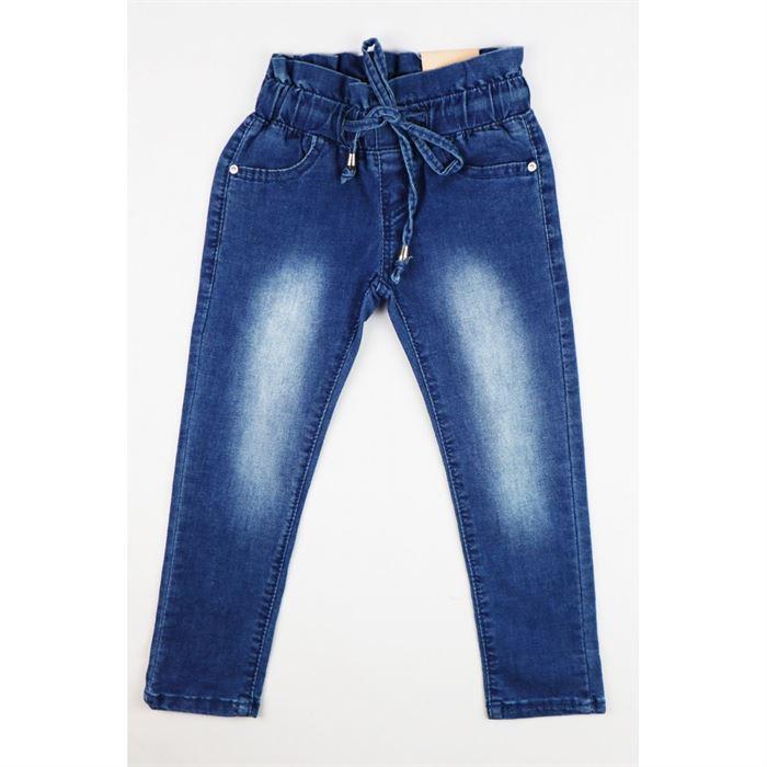 Jeansowe spodnie dla dziewczynki niebieskie z przetarciami