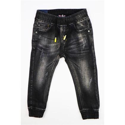 Spodnie jeansowe chłopięce ciemnoszare z gumką w pasie