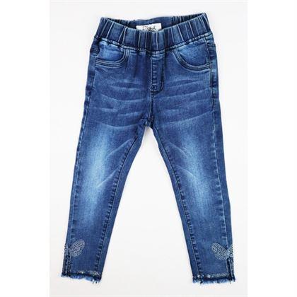 Niebieskie spodnie jeansowe dla dziewczynki z dżetami