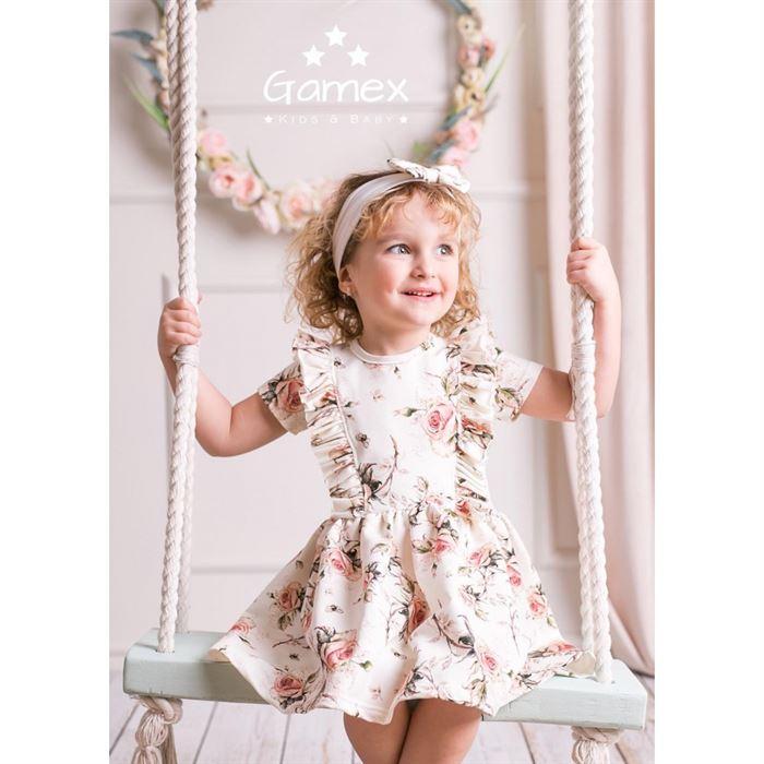 Sukienka dla dziewczynki Gamex ecru w pastelowe kwiaty