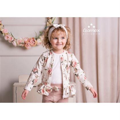Komplet dla dziewczynki Gamex bluza w kwiaty i spodnie cappucino