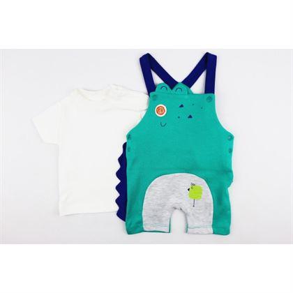 Komplet dla chłopca t-shirt i zielono-szare ogrodniczki