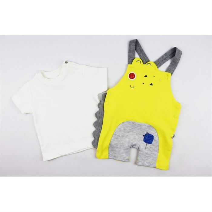 Komplet dla chłopca t-shirt i żółte ogrodniczki