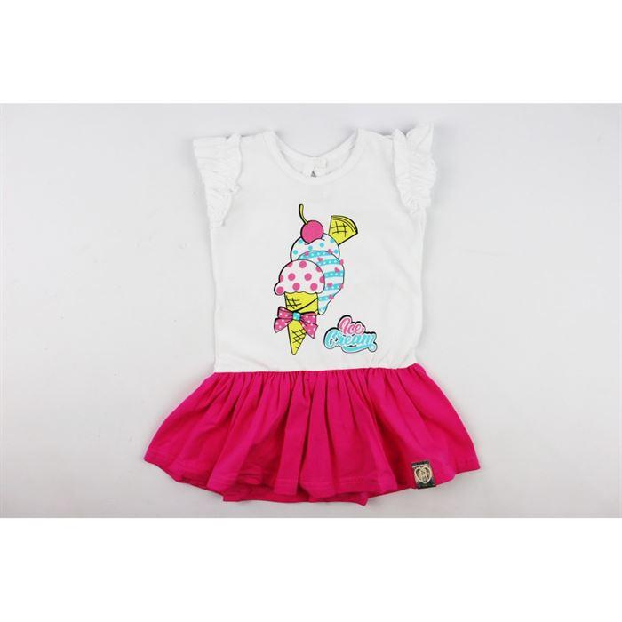 Sukieneczka biała z różową falbanką i grafiką lodów