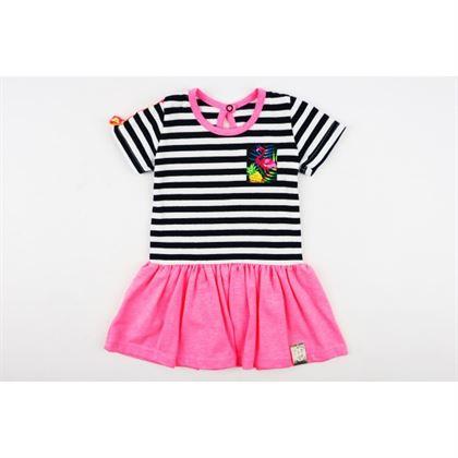 Sukieneczka dla dziewczynki w czarno-białe paski z różową falbanką
