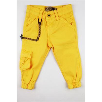Musztardowe spodnie dla chłopca z dopinanym łańcuchem