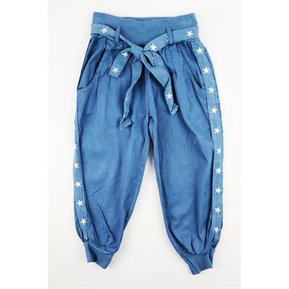 Spodnie dla dziewczynki z materiału a'la jeans z lampasami po bokach