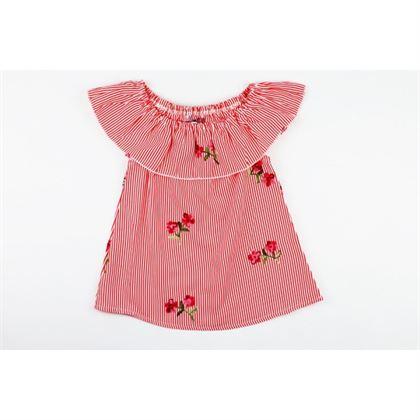 Bluzka dla dziewczynki z falbanką i czerwonymi haftowanymi różami