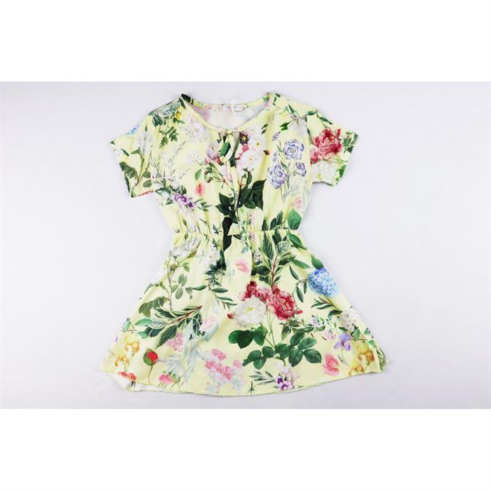 Sukienka dla dziewczynki w pudrowe kwiatuszki z wiązaniem pod szyją