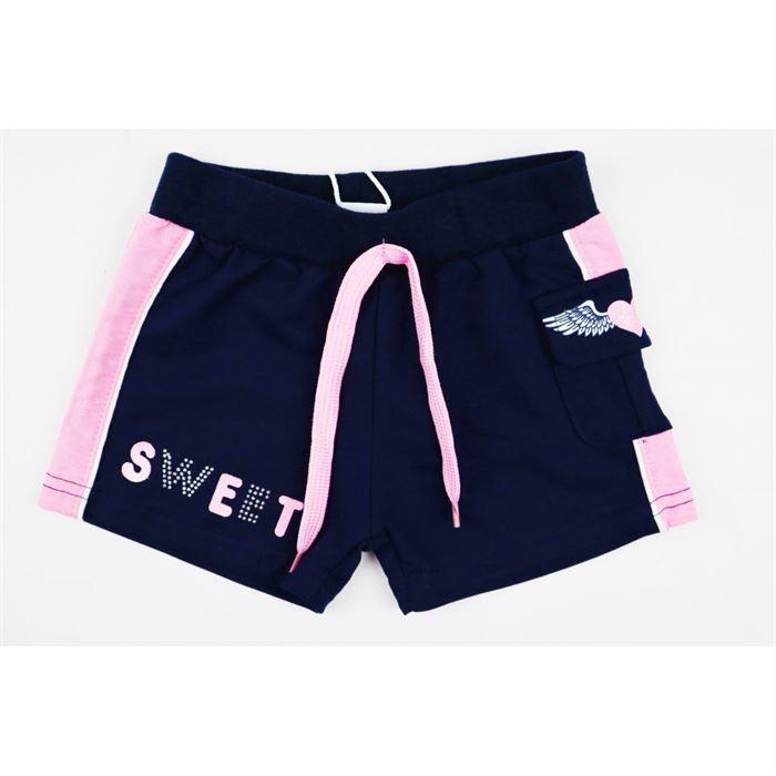 Granatowe spodenki dla dziewczynki z różowymi lamówkami Sweet