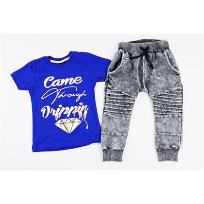 Komplet dla chłopca szafirowy t-shirt spodnie i czapka z daszkiem