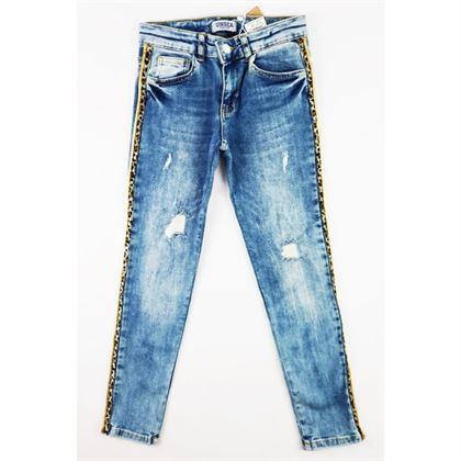 Spodnie jeansowe dla dziewczynki z panterkowymi lampasami