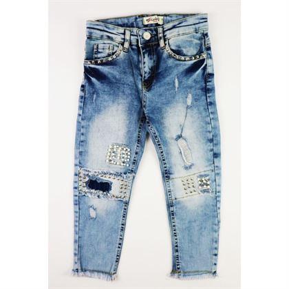 Spodnie jeansowe dla dziewczynki z przetarciami i dżetami