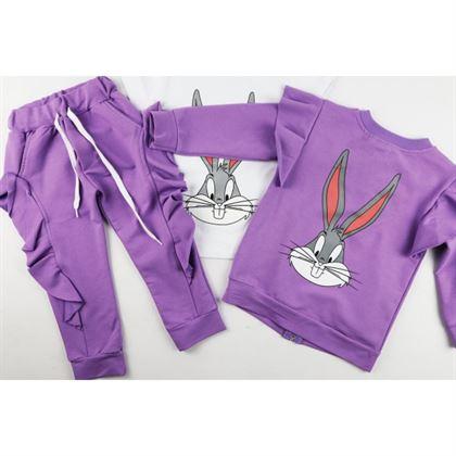 Komplet 3 częściowy dla dziewczynki bluza spodnie t-shirt z króliczkiem