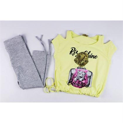 Komplet dla dziewczynki żółty t-shirt i szare legginsy
