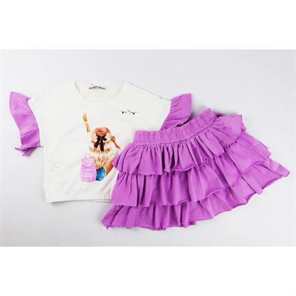 Komplet dla dziewczynki t-shirt i spódniczka fioletowo-biały