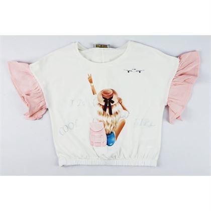 T-shirt dla dziewczynki ze ściągaczem i łososiowymi rękawkami