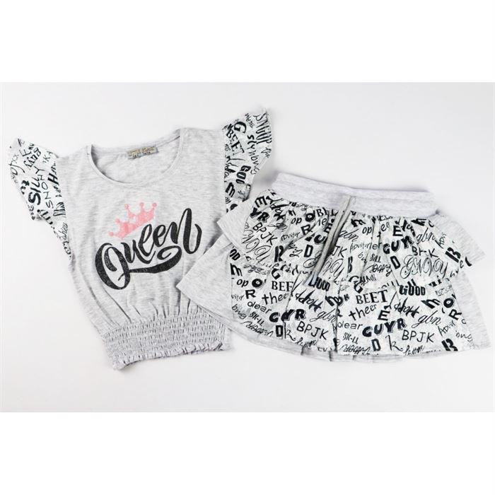 Komplet dla dziewczynki Queen t-shirt i spódniczka z printem