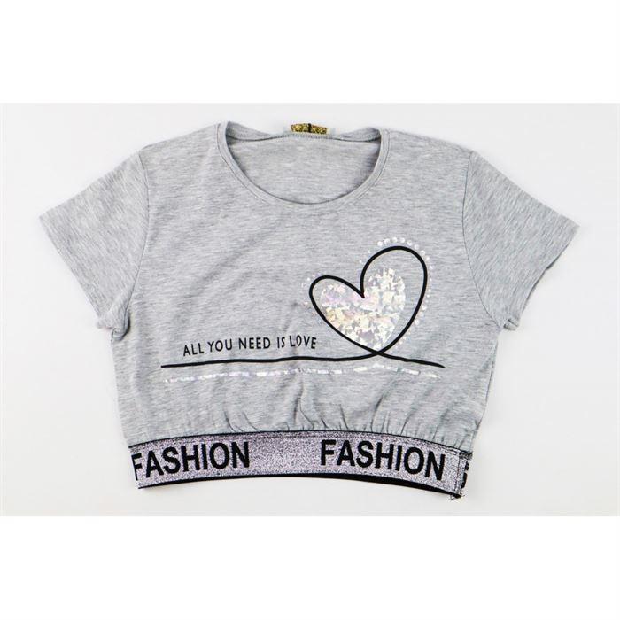 Szary krótki t-shirt dla dziewczynki z taśmą Fashion