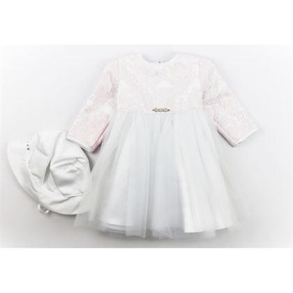 Sukieneczka na chrzest dla dziewczynki z czapeczką biała z pudrową koronkąi