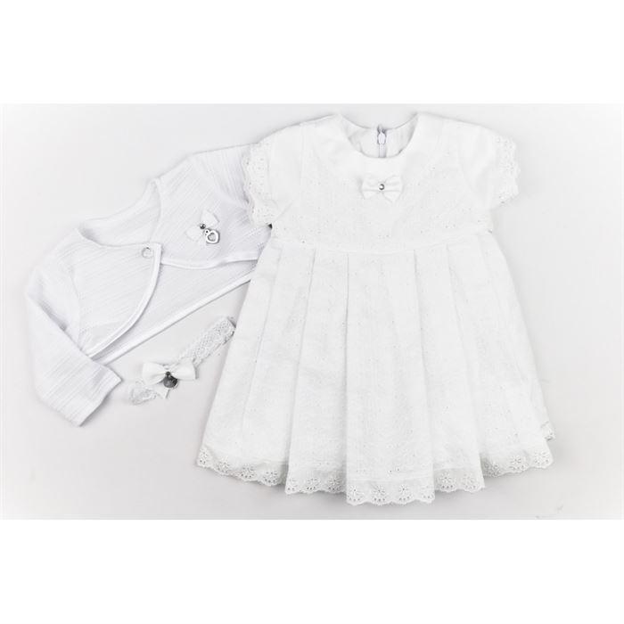 Komplet dla dziewczynki na chrzest sukienka bolerko i opaska